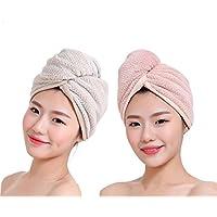 吸水タオル 乾燥タオル タオル速乾 吸水タオルキャップ 髪吸水タオル 2点セット 速乾 お風呂 バス用品 2色組 (セット02)