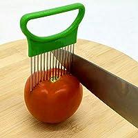 YWH Kitchen Gadgets ステンレス鋼野菜のオニオンカッターホルダーミートニードルキッチンツール (色 : Green)