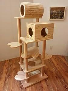 宮大工さんの手作り 木のキャットタワー お客様の声から生まれた 『猫まみれツリーハウス』