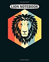 Lion Notebook: majestic vintage lion face  leo horoscope symbol  College Ruled - 50 sheets, 100 pages - 8 x 10 inches