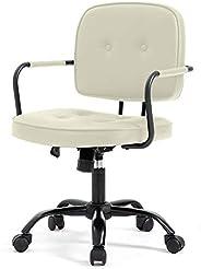 【Amazon.co.jp限定】Hinces by OSJ デスクチェア ベージュPUレザー肘掛け椅子 キャスター付き 360度回転 上下昇降機能ルミナムチェア