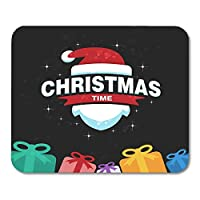 マウスパッドノエルクリスマスと新年の赤いハッピーメッセージノートブック、デスクトップコンピューターマウスマット、オフィス用品のマウスパッド