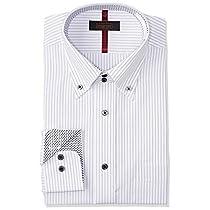 [スティングロード] ワイシャツ 17種類から選べる 長袖 形態安定 デザインシャツ レギュラーフィット メンズ #4A グレーストライプ/デュエボタンダウン 日本 3L86 (日本サイズ3L相当)