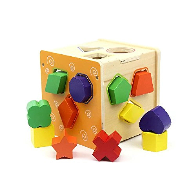 Kayiyasu カイヤス 木のおもちゃ はめこみ 形合わせ かたちはめボード キッズ ラトル 赤ちゃん 知育玩具 021-lzgy-d163345784(15*15*14.5cm 約770g )