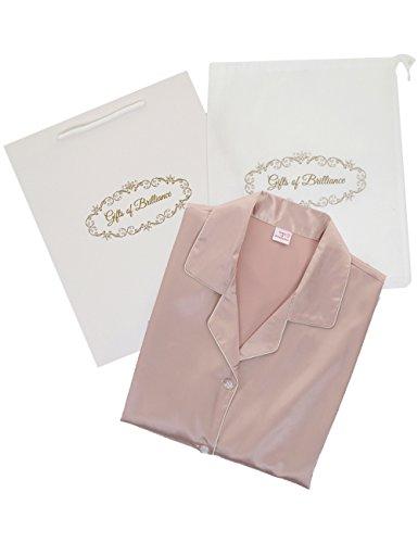 (ギフツオブブリリアンス) Gifts of Brilliance シルク パジャマ レディース 前開き 半袖 ギフト セット (3) XLサイズ (対象身長目安: 160-170cm), ベージュ) PJ_1624