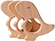 Mamimami Home 木制 吊墜 掛墜 10個 恐龍 櫸木 天然材料 動物 無涂裝 安全 DIY 飾品 零件 質量材料 材料 手工制作 手工制作 禮品 手工 零件配件