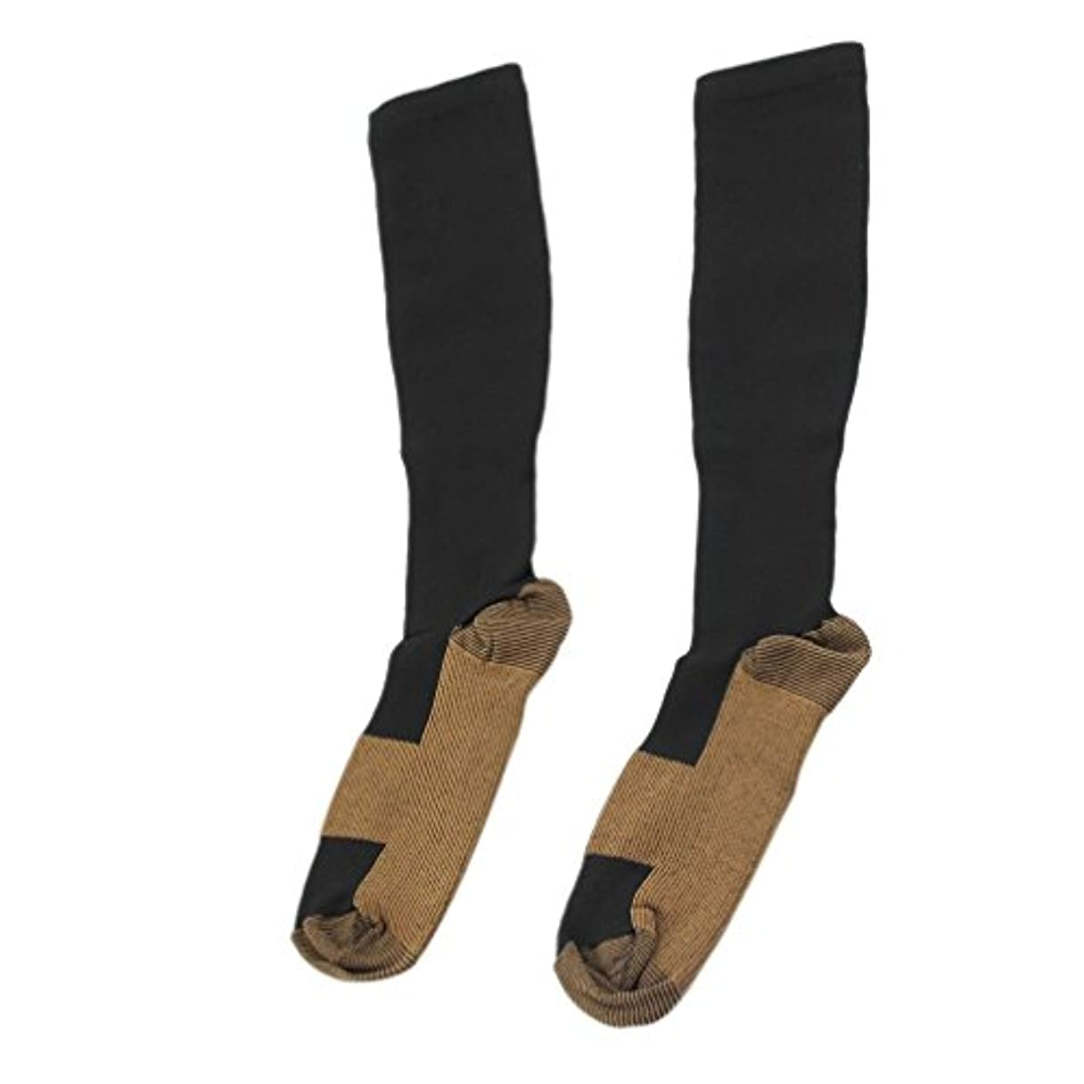 結紮とティーム瞑想的ファッショナブルな快適な救済ソフト男性女性抗疲労圧縮靴下抗疲労静脈瘤ソックス - ブラックL