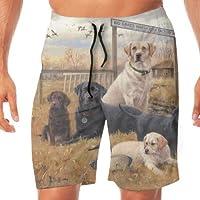ラブラドールとゴールデンレトリーバーの子犬水着 メンズ サーフパンツ 海パン ハーフパンツ