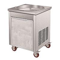 Huanyu Flat Single Pan Fried Ice Cream Machine,Stainless Steel Fruit Juice Sorbet Ice Cream Yogurt Maker (110V)
