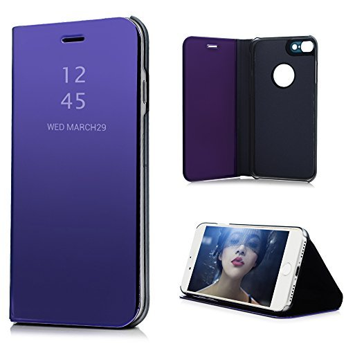 iPhone7 ケース ミラー 鏡面 手帳型 高級PUレザーとPC素材 スタンド機能 マグネット開閉...
