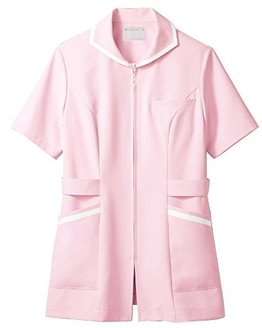 公使館連邦ブランド名ナースジャケット レディスケーシーウェア 半袖 73-1982 ピンク/白 L