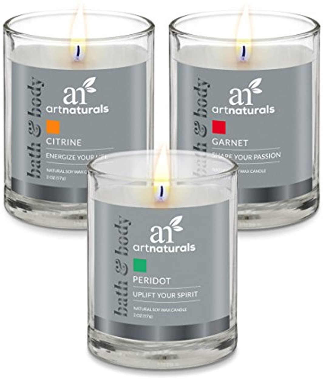 テレビを見る独立して黒くするArtNaturals Scented Candle Gift Set – 6 PieceアロマセラピーのセットFragrance大豆ワックス – Made in USA with Essential Oils – For...