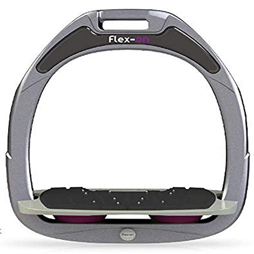【Amazon.co.jp 限定】フレクソン(Flex-On) 鐙 ガンマセーフオン GAMME SAFE-ON Mixed ultra-grip フレームカラー: シルバー グレー フットベッドカラー: グレー エラストマー: プラム 08481