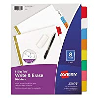 (2 Sets of 8) - AVE23079 - Avery Big Tab Write-On Divider with Erasable Tab