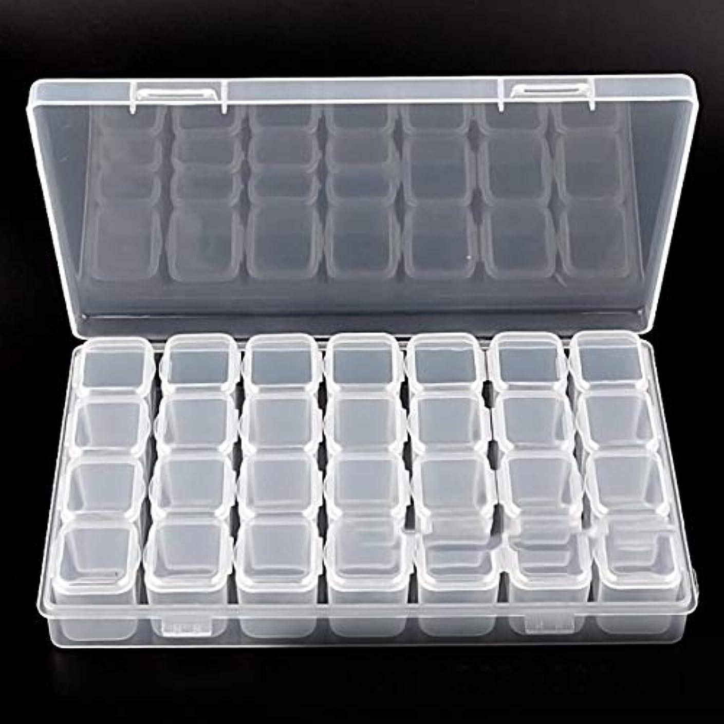 プレビューアマゾンジャングル大声でKongqiabona 28グリッドコンパートメント透明プラスチックボックス取り外し可能なジュエリー収納ケース