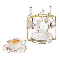 カップ&ソーサー ティーセット、家庭用セラミックコーヒーカップ&ソーサーとスプーン、カップホルダー、アフタヌーンティーセット、コーヒーセットカップ&ソーサー (Color : 白, Size : 175ML*4)