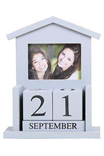 Lumierechat 結婚式 受付 写真立て ブロックカレンダー カレンダー 小物 飾り ウェルカムスペース 写真 木製 a-b4289 (ブロックカレンダー付き/ブルーグレー)