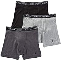 POLO RALPH LAUREN Classic Fit Boxer Briefs with Moisture Wicking, 100% Cotton - 3 Pack (M, 3Andover Heather)
