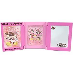 ディズニー 目覚まし時計 3面ミラー フォトフレームクロック アナログ ミッキーマウス ミニーマウス ピンク