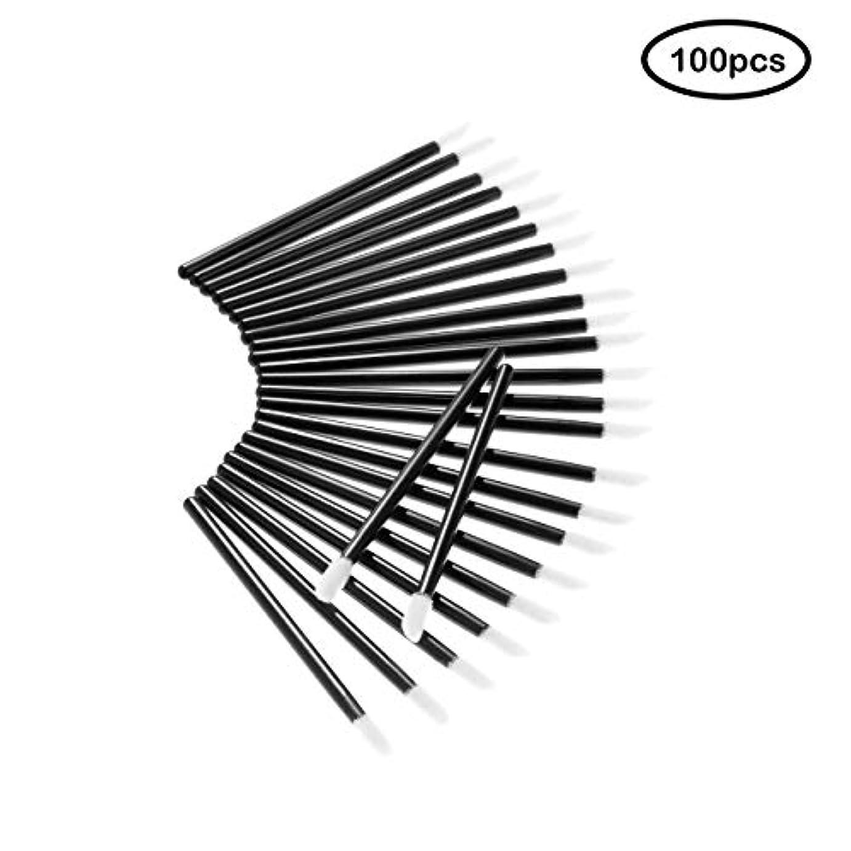 Deksias 100Pcsリップブラシ 口紅 使い捨て メイクブラシ 化粧用品 携帯用 便 利 メイクブラシ (黒色)