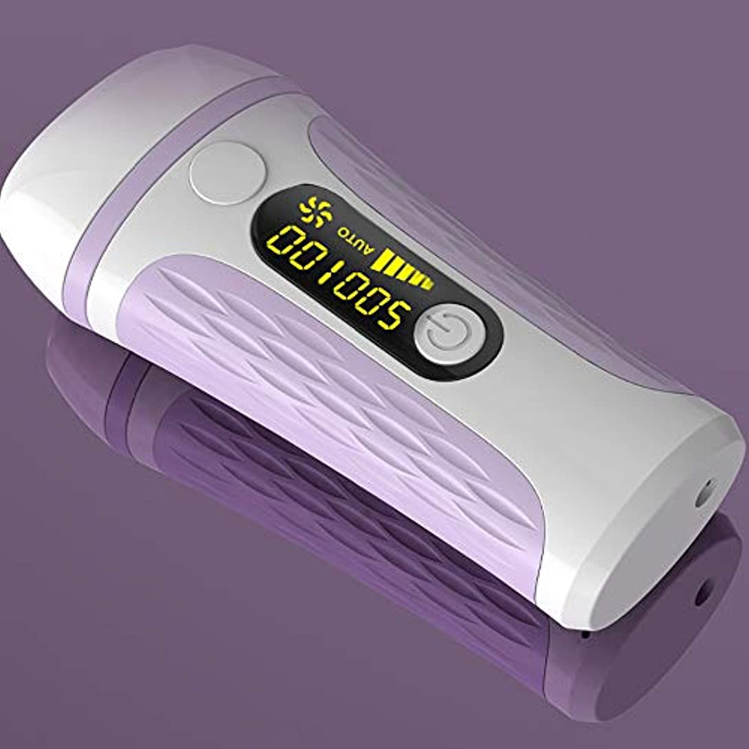 麻酔薬予約取り付けIPL脱毛システム、IPLライト脱毛装置家庭用、500,000点滅LCDディスプレイ付き永久痛みのない脱毛装置,Purple