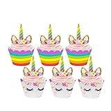 Tumao 24枚入り ケーキトッパ ユニコーン ー カップケーキトッパ ケーキ飾り バナー パーティー デコレーション ケーキ周り キッズ 誕生日パーティー ホリデー デザート 装飾 結婚式 ピンク 可愛い