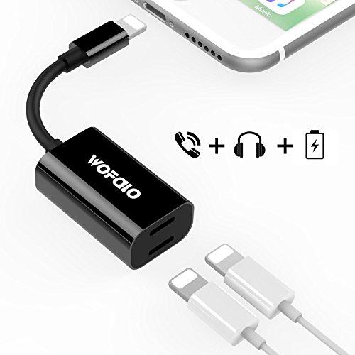 iphone8/8plus/ⅩWofalo iphone7/7plus対応 ライトニングオーディオ 変換ケーブル 通話機能 iOS11対応 (ブラック)