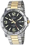 Casio MTP-VD01SG-1BV Men's Enticer Two Tone Stainless Steel Black Dial Casual Analog Sporty Watch