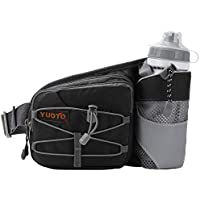 YUOTO Waist Pack with Water Bottle Holder for Running Walking Hiking Runners Hydration Belt fit Maximum 27oz and iPhone 8 Plus Men Women