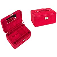 VPbao Lady Hand-Held Fillet Two-Layer Jewellery Storage Box with Lock