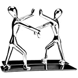 Hisredsun Heavy Duty Stainless Steel Kung Fu Man Book end Nonskid Humanoid Bookends for Home Office Llibrary School Decorativ