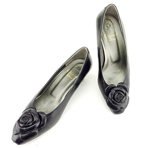 (ディオール) Christian Dior パンプス シューズ 靴 ブラック #4ハーフ フラワーモチーフ レディース 中古 T6901