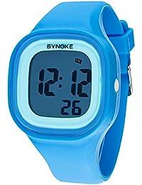 synoke 腕時計 キッズ 男の子 デジタル腕時計 小学生 入学祝い ギフト 50m防水 多機能 スポーツ用 ブルー