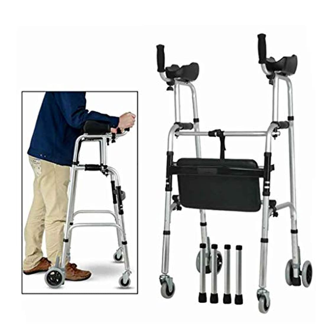 副線形ギャンブル高齢者用標準歩行器、折りたたみ式調整式歩行補助具付アームレ??スト付き、肢体不自由者用、可動式