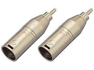 【2個セット】KC 変換コネクター CA313 XLR(M)/RCA(M) キャノン・ケーブルからオーディオAMP等へ接続