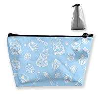 ライトブルーデザインの女性メイクアップバッグ多機能トイレタリーオーガナイザーバッグ、ジッパー付きハンドポータブルポーチトラベルウォッシュストレージ容量(台形)
