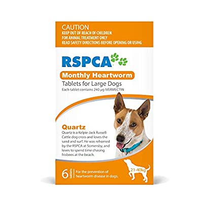 RSPCA Montly Heartworm Tablets for Large Dogs, 6 Tablets