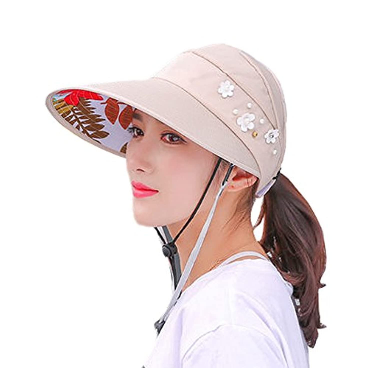 ブルゴーニュシーンブランドダブル防風ロープ帽子レディース夏カジュアルRiding潮の韓国バージョン紫外線対策春夏折りたたみ太陽帽子バイザーUPF 50 +