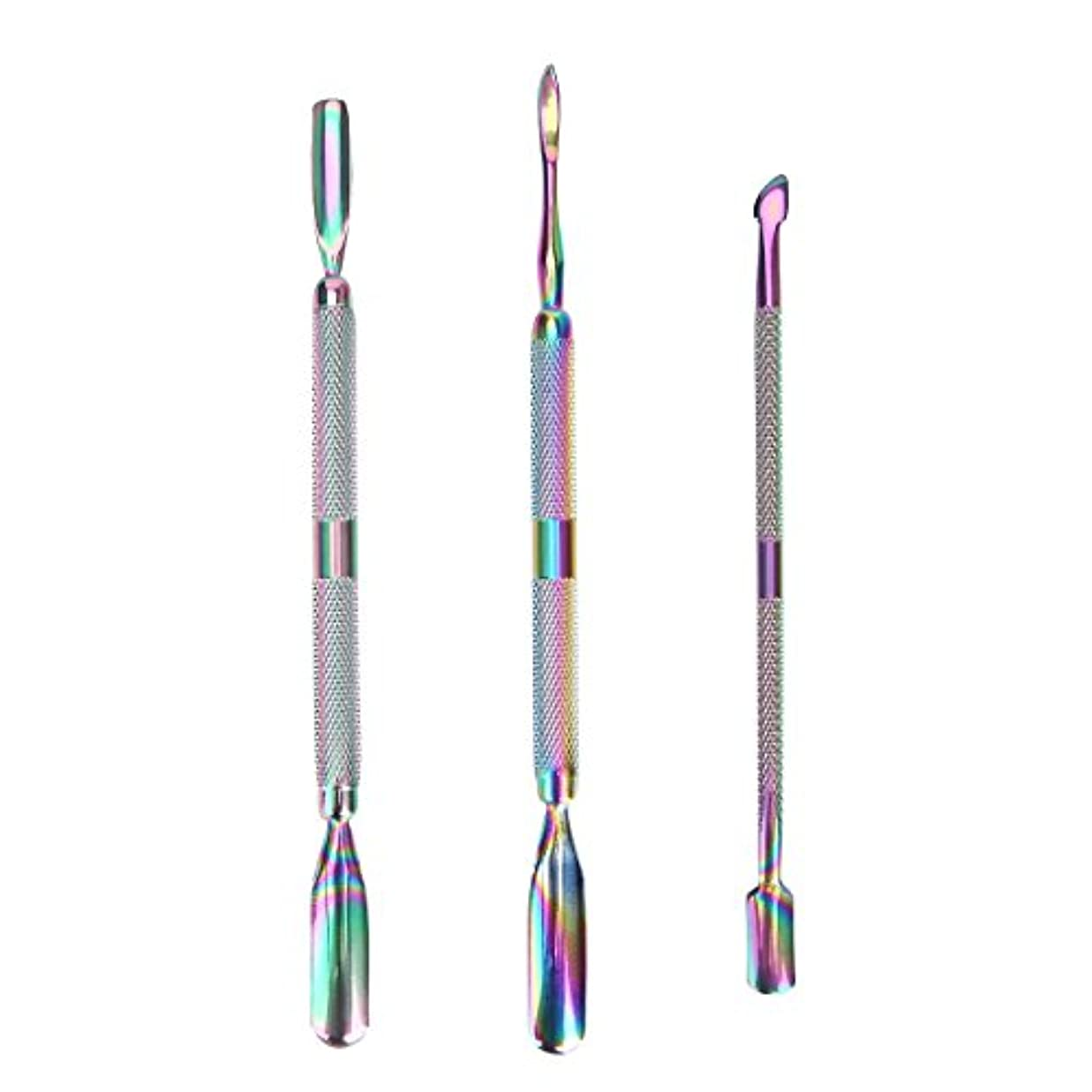 3 Pcs/set Rainbow Stainless Steel Dual End Nail Art Dead Skin Cuticle Remover Pusher Spoon Pedicure Manicure Care...