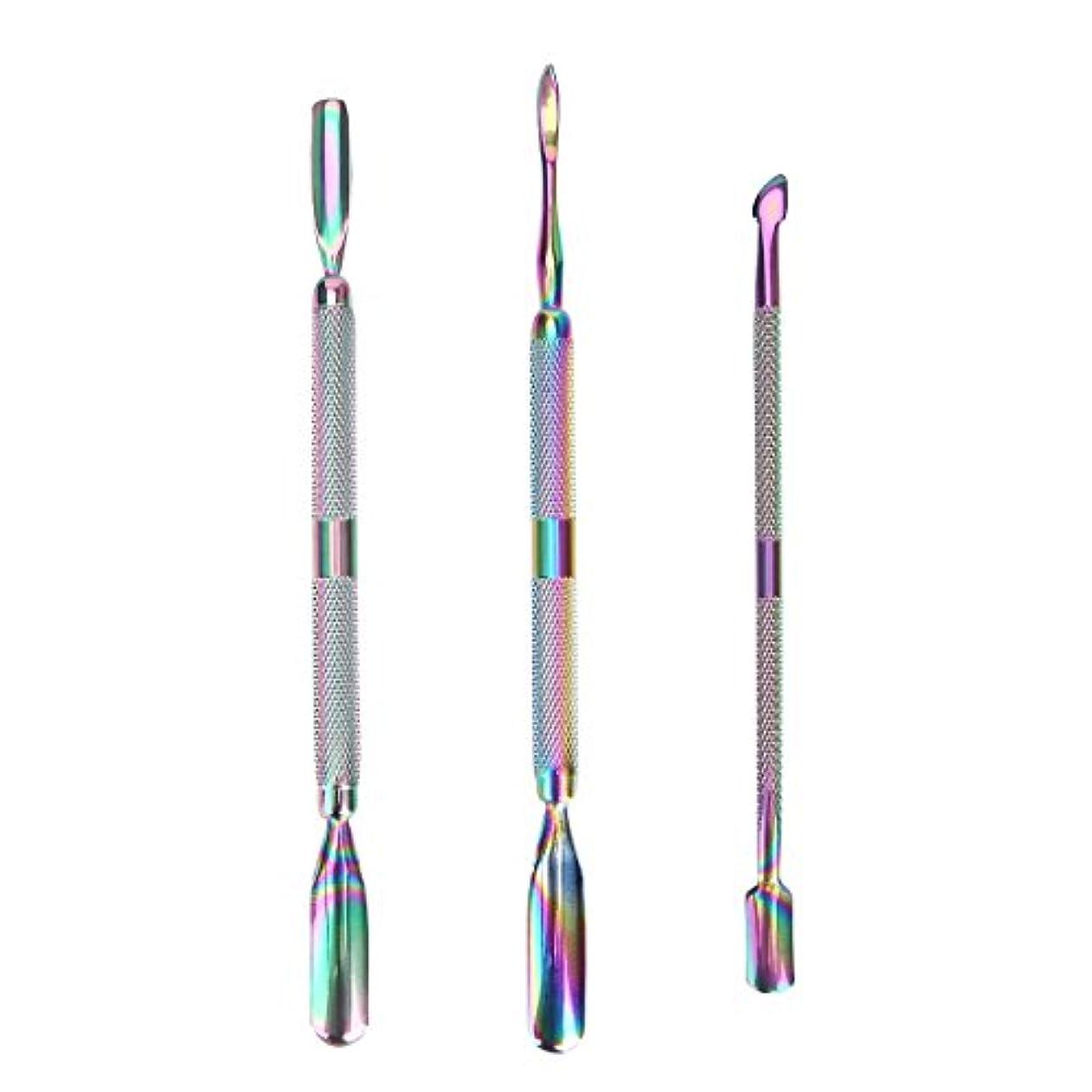 コンパクト歯車終点3 Pcs/set Rainbow Stainless Steel Dual End Nail Art Dead Skin Cuticle Remover Pusher Spoon Pedicure Manicure Care...