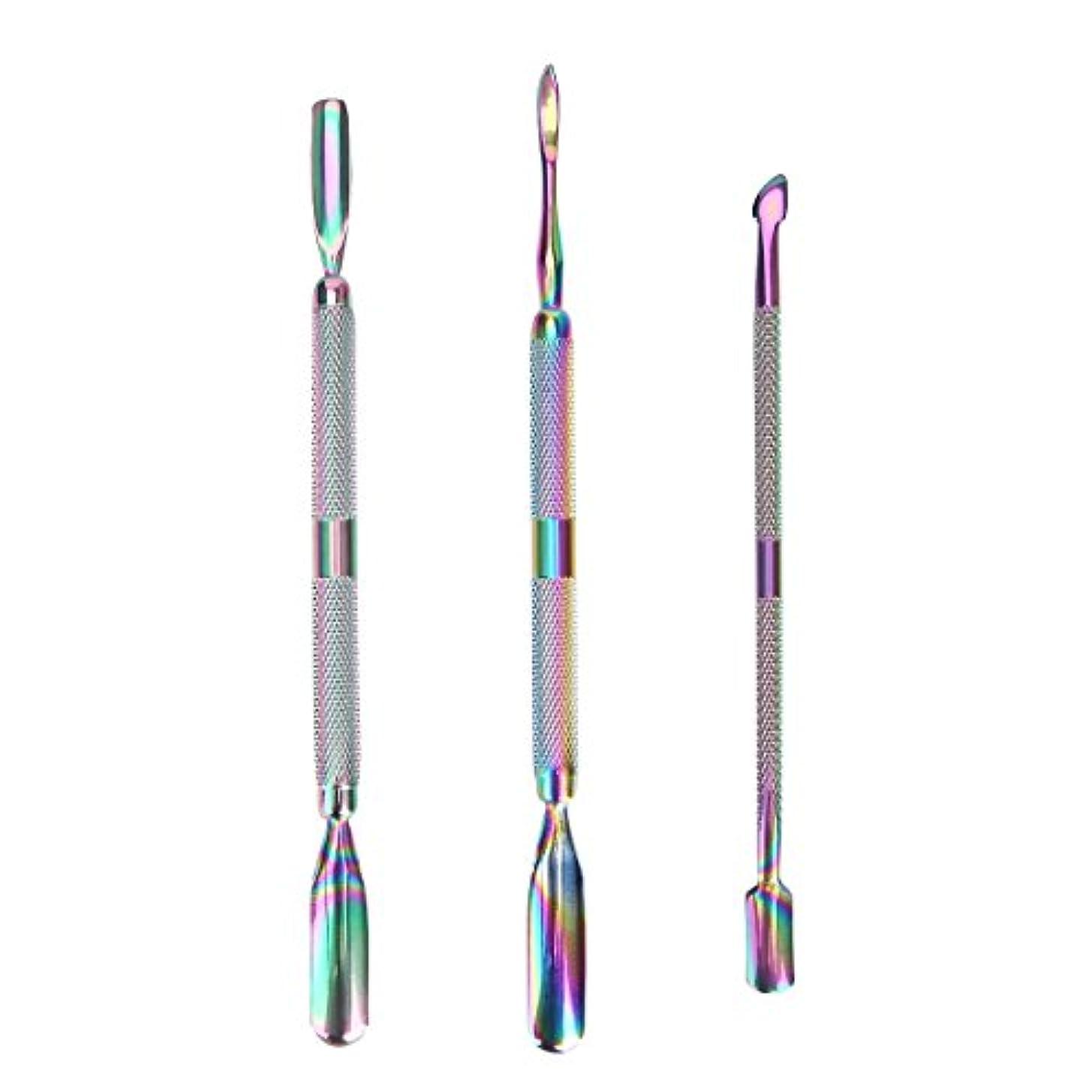 ありがたいくつろぎあなたが良くなります3 Pcs/set Rainbow Stainless Steel Dual End Nail Art Dead Skin Cuticle Remover Pusher Spoon Pedicure Manicure Care...