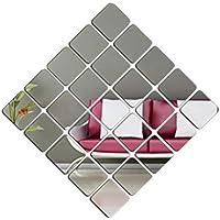 【25枚セット】壁貼りシール 鏡シール インテリア鏡貼 浴室 化粧 壁 装飾ミラー 安全 割れない 折れない 鏡効果 おしゃれ 薄型 空間節約 四角形 15 x15cm(1mm, 25)
