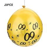 Yosoo 20Pcs 番号バルーン ラテックスバルーン ラテックス製 パーティー 結婚式(20pcs-イエロー)