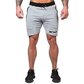 MANATSULIFE ショートパンツ メンズ フィットネスパンツ トレーニング 短パン カジュアル スポーツウェア DK-18 (グレー, M)