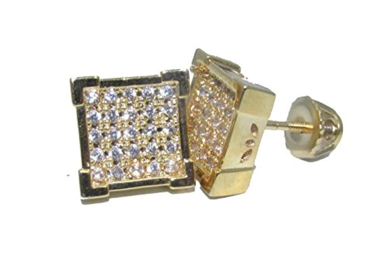 パラダイスバレエ次ボックス正方形14 Kゴールドオーバーレイ925ラボMicro Pave 12 mmイヤリングW / Screw on Backs