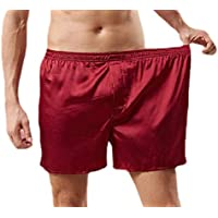 Men Cozy Silk Pajamas Shorts Sleepwear Underwear Satin Boxer Shorts