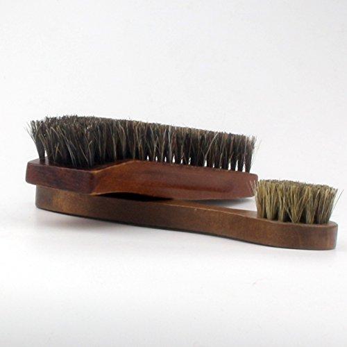 木製 馬毛靴ブラシ ハンドルブラシ 2点セット シューズケア ほこり 花粉 汚れを除去に 靴磨き (...