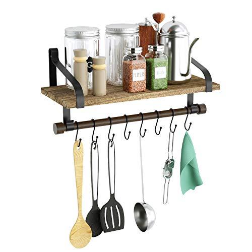 キッチンツールフック 調味料 棚 Love-KANKEI 洗面所収納棚 キッチン調味料ハンガー ウォールシェルフ 8つのS字フック付属 調理器具 生活雑貨整理整頓