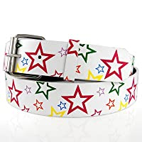 Hip Hop ファッション ベルト - マルチ STARS ホワイト