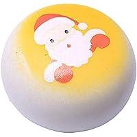 Oldeagle クリスマスサンタクロース パン低反発圧力スクイーズ ストレス解消玩具 キーペンダント 子供と大人へのギフト 8x 8x 5CM イエロー 84374147